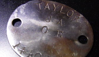 Dog tag belonging to WWII-era soldier J.A. Taylor