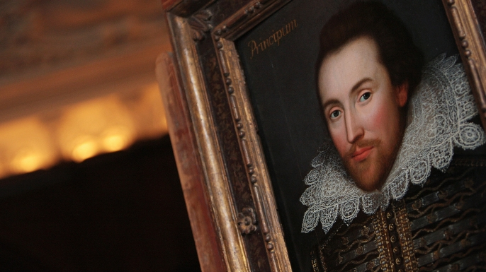 A portrait of William Shakespeare is pictured in London, on March 9, 2009. The portrait, painted in 1610, is believed to be the only surviving picture of William Shakespeare painted in his lifetime. AFP PHOTO/Leon Neal (Photo credit should read Leon Neal/AFP/Getty Images)