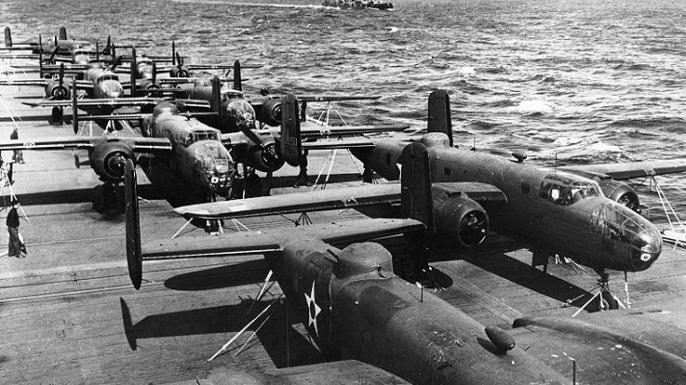 B-25 bombers on the deck of USS Hornet before the Doolittle Raid.