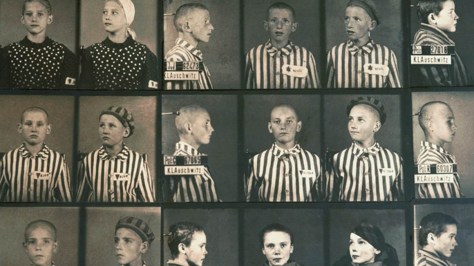 Photos of Jewish children in the Auschwitz concentration camp.