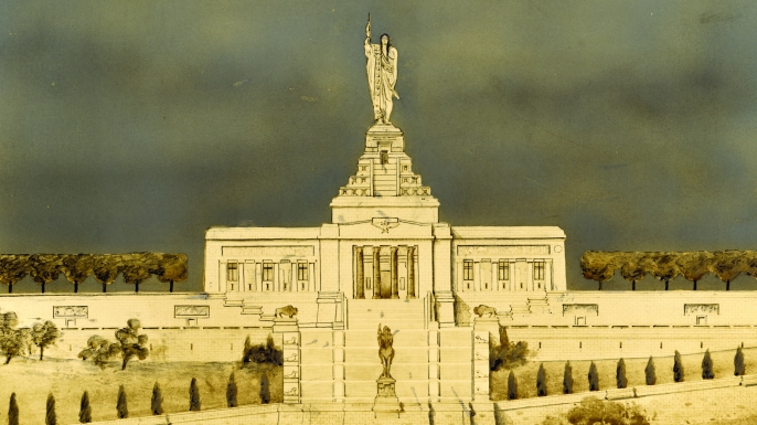 Thomas Hastings and Daniel Chester French's design for a National American Indian Memorial.