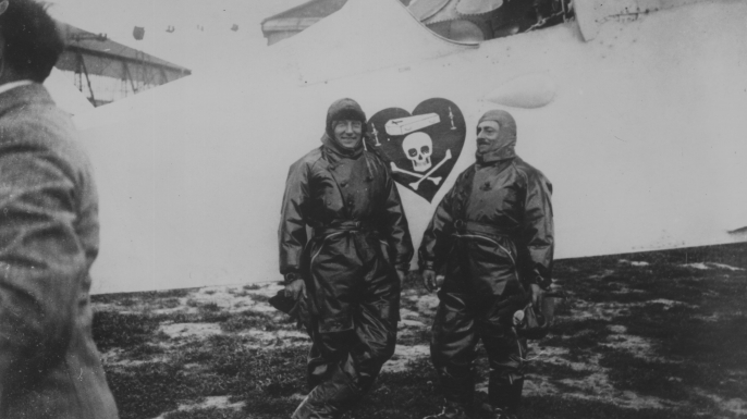 Charles Nungesser and Francois Coli standing in front of 'L'Oiseau Blanc' in France. (Credit: Central Press/Getty Images)
