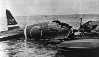 6th June 1942:  A wrecked Japanese war plane floating in the water after it had been shot down during the Battle of the Coral Sea.  (Photo by Hulton Archive/Getty Images)