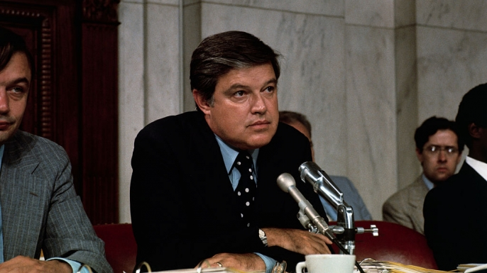(Original Caption) Washington, D. C.: Close up of Senator Frank Church during a session of the Senate Intelligence Committee on the CIA and deadly toxin stocks.