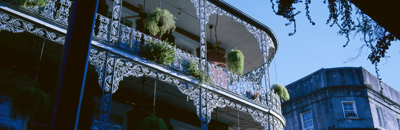 Buildings in the French Quarter of New Orleans are decorated with ornate lattice work. (Photo by David Butow/Corbis via Getty Images)