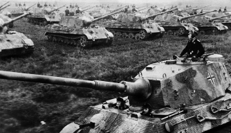 A formation of Tiger II tanks - January 1945. (Credit: ullstein bild/ullstein bild via Getty Images)