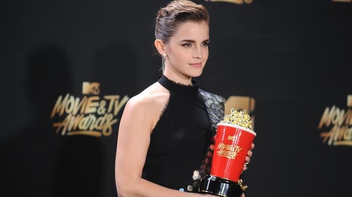 Emma Watson poses in the press room at the 2017 MTV Movie and TV Awards.  (Credit: Jason LaVeris/FilmMagic)