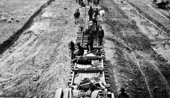 Construction of Northern Pacific Railroad, 1880s.