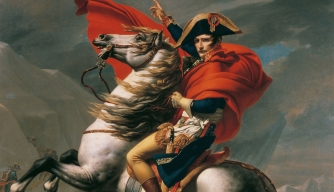 Painting depicting Napoleon at the Battle of Waterloo.