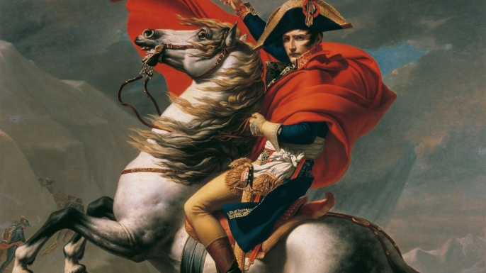 Painting depicting Napoleon crossing the Alps.