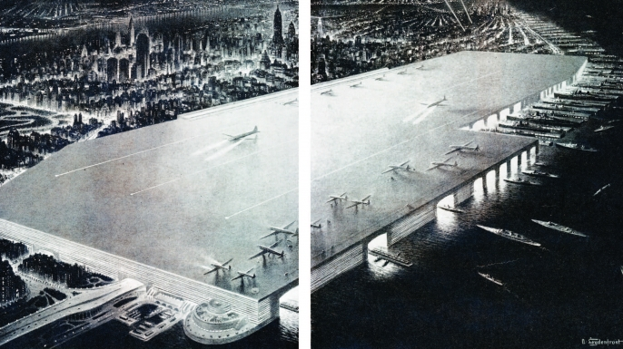 William Zeckendorf's plan for the West Side Airport. (Courtesy Metropolis Books)