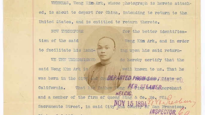 Departure Statement of Wong Kim Ark. (Credit: National Archives)