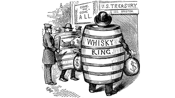 A political cartoon on the Whiskey Ring scandal by artist Thomas Nast. (Credit: Bettmann/Getty Images)