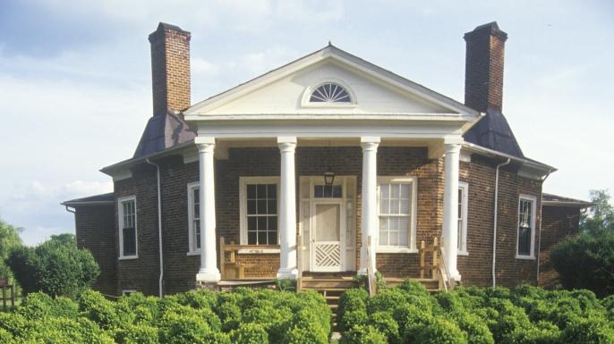 Thomas Jefferson's personal retreat, Poplar Forest, Lynchburg, Virginia. (Credit: Visions of America/UIG/Getty Images)