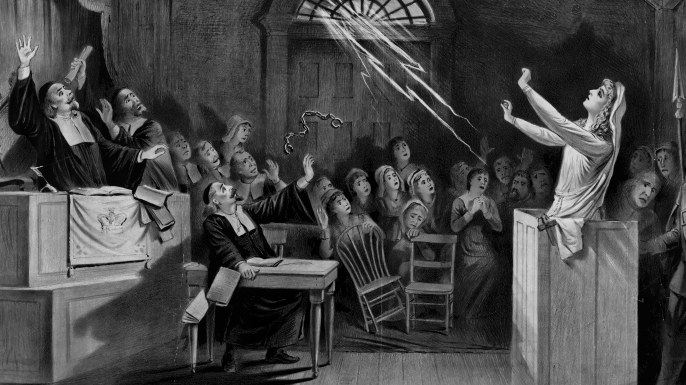 Painting depicting the Salem witch trials.