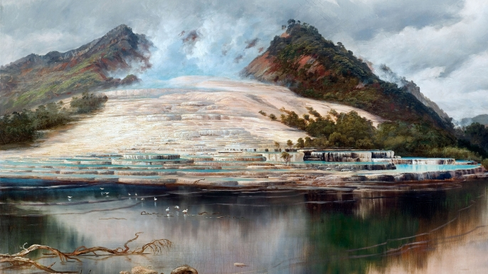 Painting of the terraces at Lake Rotomahana by Charles Blomfield.