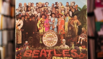"A vinyl LP for ""Sgt. Pepper's Lonely Hearts Club Band"" by The Beatles,"