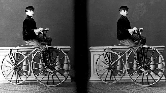 Portrait of little boy on a bicycle, Italy 1875. (Credit: Fratelli Alinari/Alinari Archives, Florence/Alinari via Getty Images)