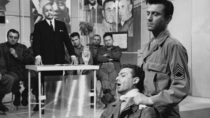 "A scene from the film ""The Manchurian Candidate."""