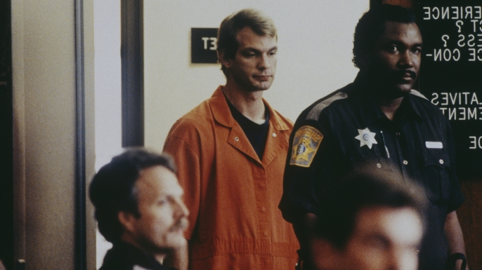 American serial killer and sex offender Jeffrey Dahmer, aka The Butcher of Milwaukee, is indicted on 17 murder charges between 1978 and 1991. (Credit: Marny Malin/Sygma via Getty Images)