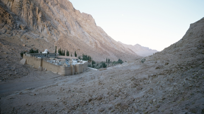 Saint Catherine's Monastery, or Santa Katarina, a Greek Orthodox monastery on the Sinai Peninsula in Egypt, 1967. (Credit: John Bulmer/Getty Images)