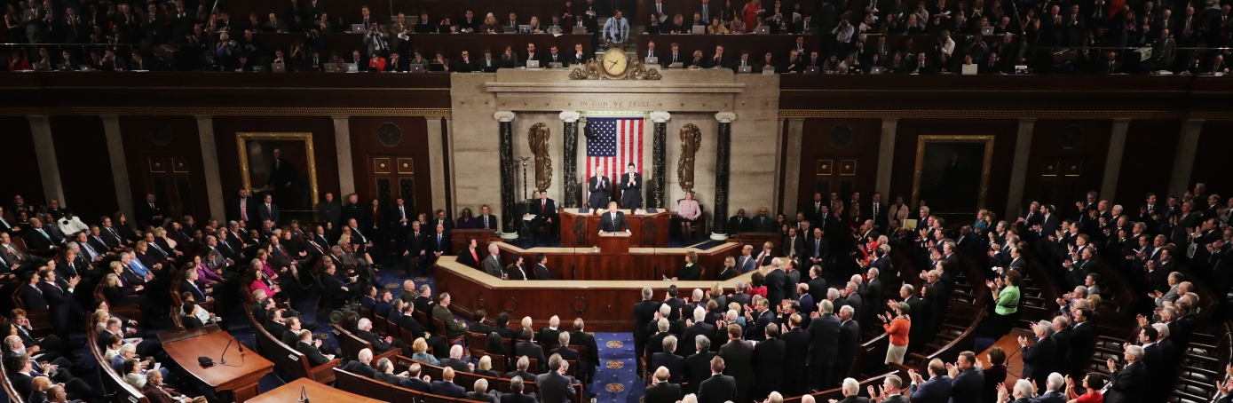 U.S. President Donald Trump addresses a joint session of the U.S. Congress on February 28, 2017 in the House chamber of  the U.S. Capitol in Washington, DC. Trump's first address to Congress focused on national security, tax and regulatory reform, the economy, and healthcare.  (Credit: Chip Somodevilla/Getty Images)