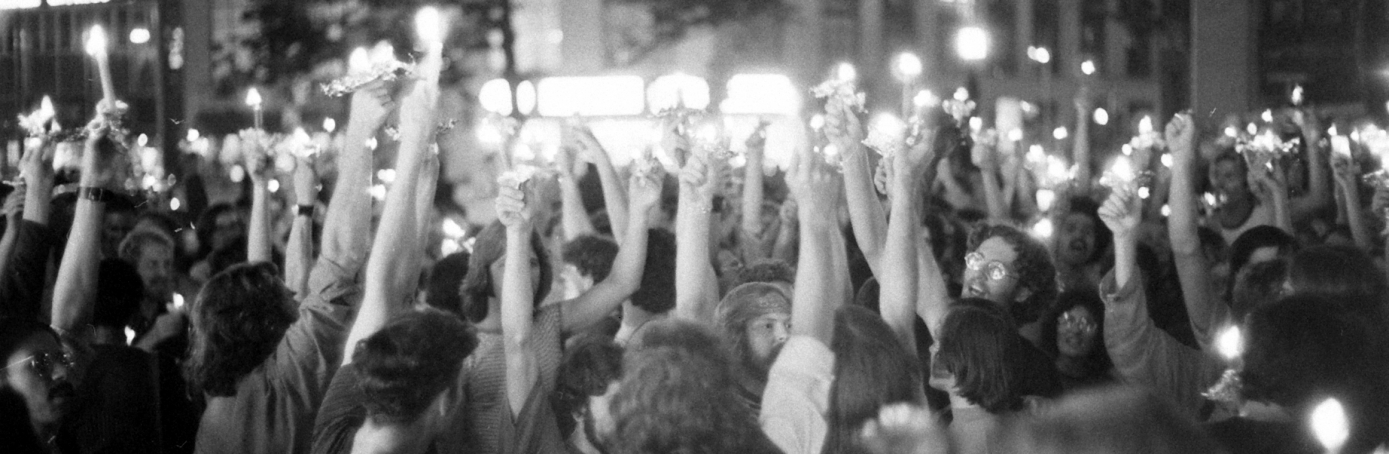 Large crowd commemorates the 2nd anniversary of the Stonewall riots in Greenwich Village, New York, New York, 1971. (Credit: Grey Villet/The LIFE Picture Collection/Getty Images)