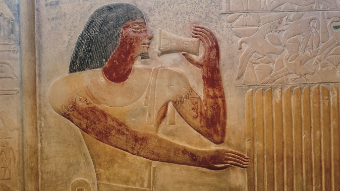 Egyptian relief showing drinking