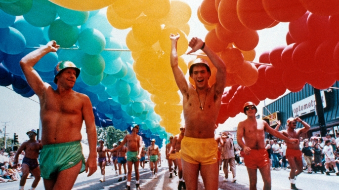 Men march in the Gay Pride Parade on  June 1,1991 in West Hollywood, California.  (Credit: Joan Adlen/Getty Images)