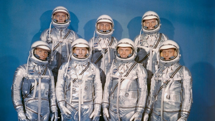 NASA's astronaut class one, the Mercury Seven. Front row, (l-r) Walter M. Schirra Jr., Donald K. Slayton, John H. Glenn Jr., and M. Scott Carpenter. Back row, (l-r) Alan B. Shepard Jr., Virgil I. Grissom and L. Gordon Cooper Jr. (