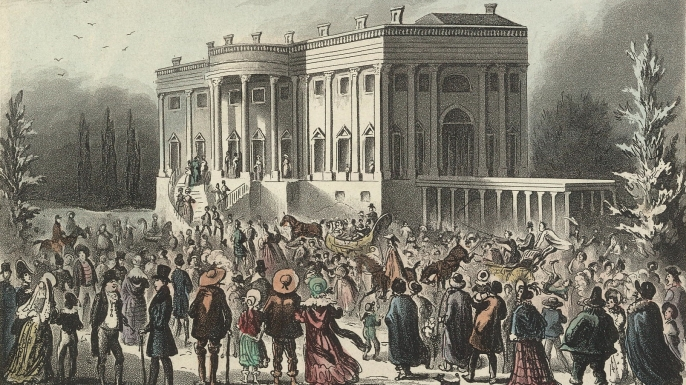 Crowds at Andrew Jackson's first inauguration.