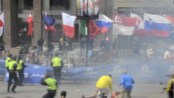 Still from Ryan Hoyme's video of the second bomb exploding at the Boston Marathon. (Credit: Ryan Hoyme)