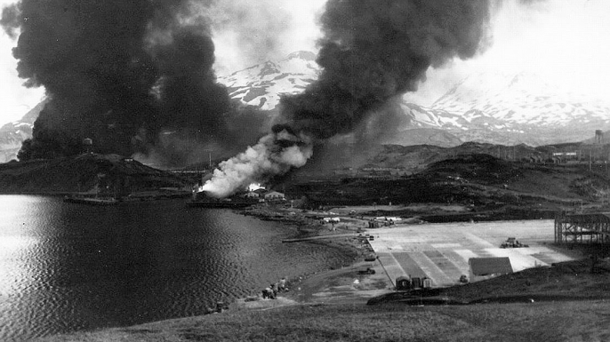 Damage to Dutch Harbor after the Japanese raid