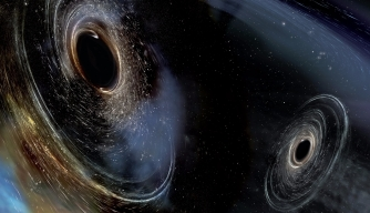 Artist's conception shows two merging black holes similar to those detected by LIGO. (Credit: LIGO/Caltech/MIT/Sonoma State (Aurore Simonnet))