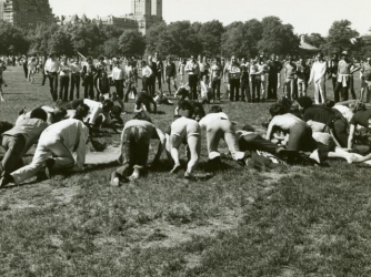 """Gay-in"" in Central Park during the 1st Christopher St Liberation Day Parade in NYC, 1970. (Credit: NYPL)"