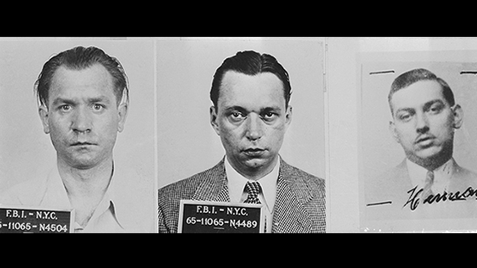 Mugshots of saboteurs Werner Thiel Ernest Peter Burger and Hermann Neubauer.