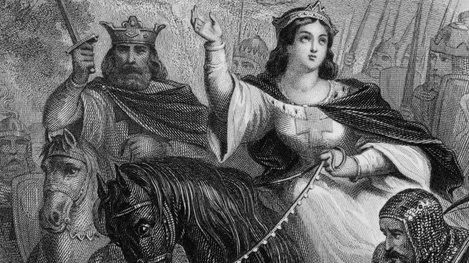 Eleanor of Aquitaine rides east with her husband, Louis VII. (Credit: Chronicle/Alamy Stock Photo)