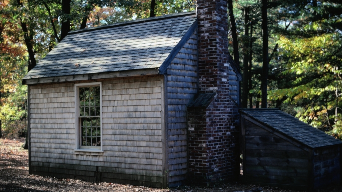 A replica of writer Henry David Thoreau's cabin in Concord, Massachusetts. (Credit: Kim Grant/Getty Images)