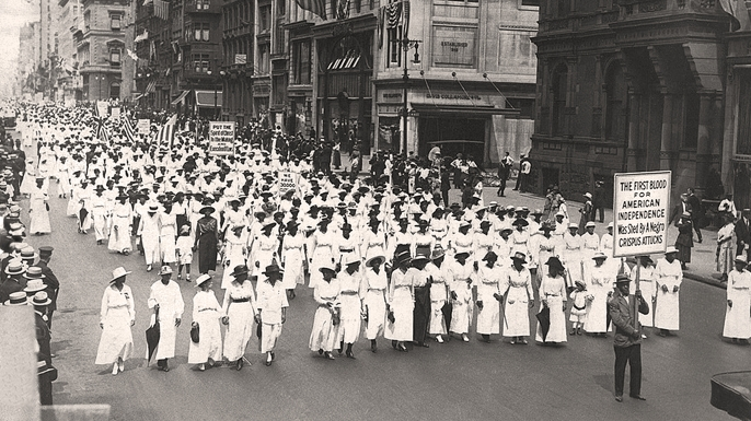 A silent march to protest the police treatment of blacks during riots in New York City, 1917. They marched down Fifth Avenue on that summer Saturday without saying a word. (Credit: Underwood Archives/Getty Images)