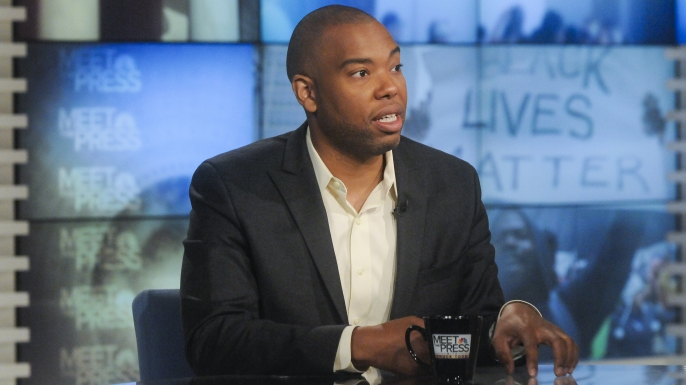 "Ta-Nehisi Coates, National Correspondent for The Atlantic and author of ""Between the World and Me"", appears on ""Meet the Press"" in Washington, D.C.  (Credit: William B. Plowman/NBC/NBC NewsWire via Getty Images)"
