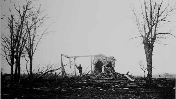 Solitary figure standing amidst ruins of the Henry House, destroyed by Union artillery during Battle of First Manassas, also known as the First Battle of Bull Run.  (Credit: Mathew B. Brady/National Archives/The LIFE Picture Collection/Getty Images)