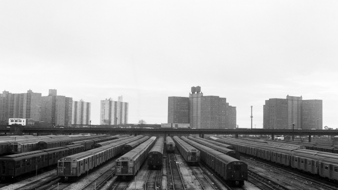 Subway trains lie idle at the Coney Island yard, 1966. (Credit: Bettmann/Getty Images)