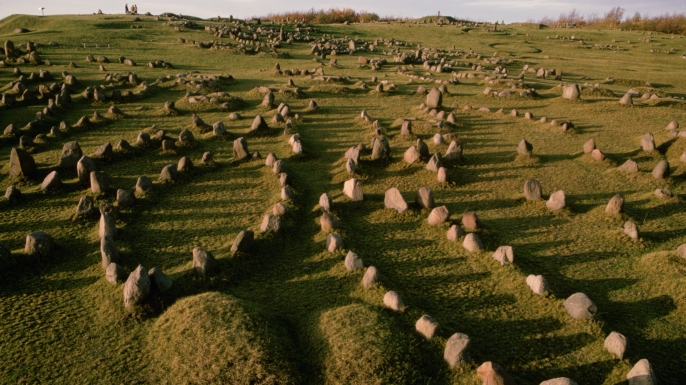 Largest burial site in Scandinavia has over 600 graves dating back to the Germanic Iron Age and the Viking period. Each circle of stones designates a burial site for man who had merit in the community. North of Alborg, Denmark. (Credit: Ted Spiegel/Getty Images)