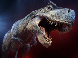 A Tyrannosaurs Rex robotic dinosaur from the live show 'Walking With Dinosaurs', based upon the hit BBC TV series of the same name. (Credit: by Oli Scarff/Getty Images)