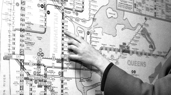 1960s New York City subway map. (Credit: Dennis Caruso/NY Daily News Archive via Getty Images)
