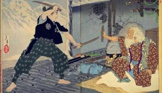 Miyamoto Musashi fighting against Tsukahara Bokuden. (Credit: Yoshitoshi/PD-1923)