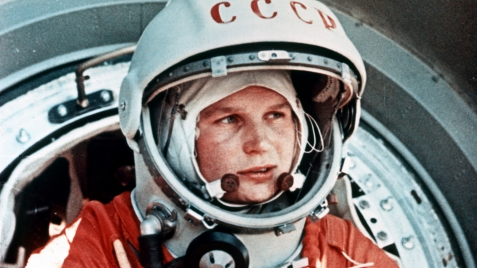 Valentina Tereshkova, the first woman in space, in front of the Vostok capsule, 1963. (Credit: Sovfoto/UIG via Getty Images)