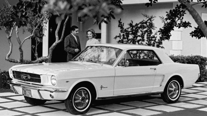 Ford Mustang, which was introduced to the public on April 17, 1964 at the New York World's Fair, Florida, 1963. (Credit: Underwood Archives/Getty Images)