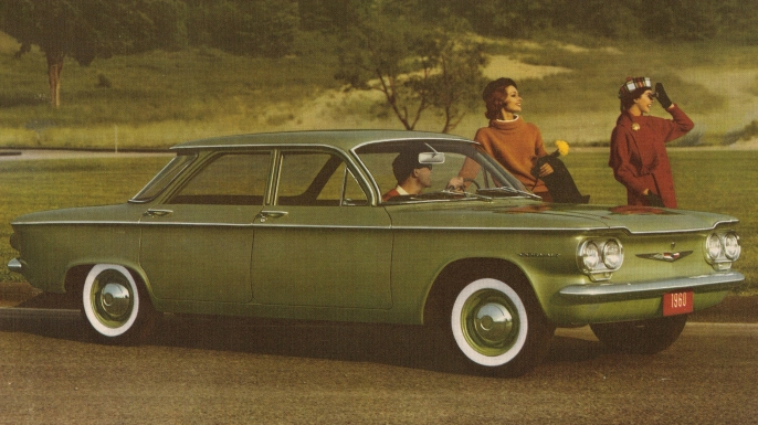 Advertisement featuring the 1960 Chevrolet Corvair. (Credit: John Lloyd/Flickr Commons/CC BY 2.0)