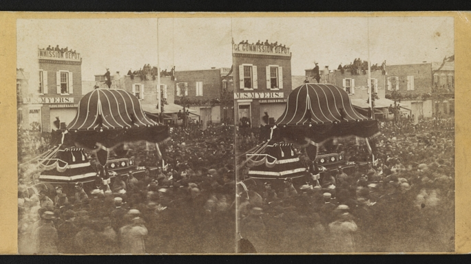 Abraham Lincoln's casket through the crowd on Broad Street in Philadelphia, April 22, 1865. (Credit: The Library of Congress)